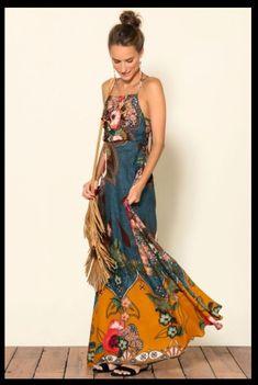 dress with interesting print - Herren- und Damenmode - Kleidung Gypsy Style, Hippie Style, Bohemian Style, Boho Chic, Bohemian Skirt, Boho Dress, Dress Up, Bohemian Dresses, Fashion Mode