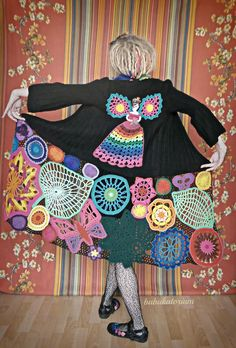 Fairy Princess In The Enchanted Forest - Irish Lace Upcycled Rainbow Hippie Crochet Sweater Coat - this coat is just AMAZING !!  now i want to go crazy with yarn again :-))))