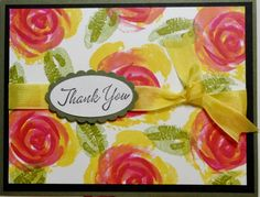 bright and beautiful card...Roses in Winter stamp set used in yellow, pink and green to make an all-over printed paper look...