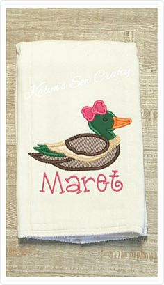 Burp Cloth with name, Girl Duck w/ bow, Mallard Duck, Applique Duck ,Cloth Diaper Burp, Tree Camo, Hunting Bib, Hunting Burp Cloth,Baby Gift by KalynsSewCrafty on Etsy