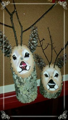 Handmade Reindeer Logs of the BEST Christmas Decorating Ideas Reindeer Logs…these are the BEST DIY Christmas Decorating Ideas!Items similar to Hand Painted Rustic Wooden Reindeer Logs! Great for holiday decorations or for an everyday look! Outdoor Christmas, Rustic Christmas, Christmas Art, Christmas Projects, Christmas Holidays, Christmas Ornaments, Reindeer Christmas, Office Christmas, Wooden Christmas Crafts