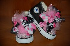 PUNK PRINCESS Bling Converse Black Hi-tops with Boutique Bows (Sizes Infant 2 - 10 Toddler) and Swarovski Crystals - Also Available in Pink. $89.95, via Etsy.
