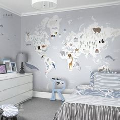 Map Nursery, Nursery Wallpaper, Kindergarten Wallpaper, Color World Map, World Map Wallpaper, Cleaning Walls, Soft Colors, Natural Colors, Wall Stickers
