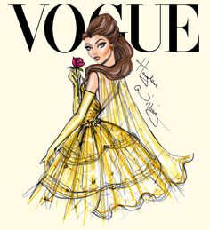 Hayden Williams Fashion Illustrations | Disney Divas for Vogue by Hayden Williams: Belle