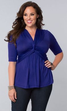 Our best-selling plus size Caycee Twist Top cures the blues in its latest color option.  Soft jersey material and flattering knot detail make this a casually chic addition for any outfit.  Browse our entire made in the USA collection online at www.kiyonna.com.  #KiyonnaPlusYou