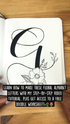 Calligraphy Worksheet, Calligraphy Video, Hand Lettering For Beginners, Hand Lettering Tutorial, Free Doodles, Flower Drawing Tutorials, Alphabet Style, Bullet Journal Books, Floral Doodle