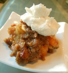 Apple, Pear, and Dried Apricot Crisp with Chai-Scented Streusel Topping