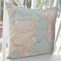Map Pillow World Map Pillow Cover Globe Throw by MotifPillows, $36.00