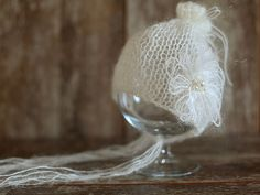 Ivory Mohair Newborn Hat Knit Bonnet Baby Girl by SmallandLovely