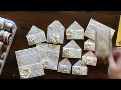 In this video I give you lots of ideas for what to do with book pages. Old Book Crafts, Book Page Crafts, Scrapbooking, Scrapbook Paper Crafts, Homemade Books, Envelope Art, Art Journal Techniques, Paper Crafts Origami, Old Book Pages