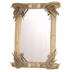 Lodgepole Framed Mirror with Antler Corners