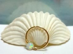 Opal septum ring septum piercing16  22 by HelenCollectionJewel