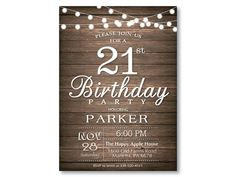 Hey, I found this really awesome Etsy listing at https://www.etsy.com/listing/251193069/21st-birthday-invitation-rustic-string