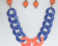 """Check out Team Colors Jewelry,22""""Long Statement Necklace,Chunky Royal Blue,Orange,Light Acrylic,30x32mm Links,Wood Beads,Matching Earrings,#SJ5000NE on ckdesignsforyou"""