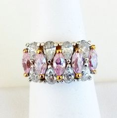 Vtg EDCO 925 Pink Crystal CZ Cocktail Ring Gold Plated Sterling Silver Sz 6.75 #Edco #Cocktail