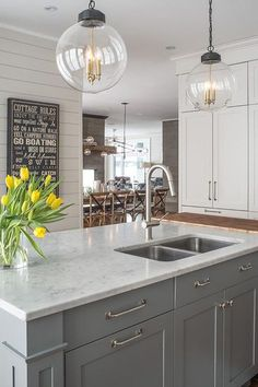 Marble KItchen Island Countertop Fitted with Cutting Board - Transitional - Kitchen Grey Kitchen Island, Gray And White Kitchen, Grey Kitchen Cabinets, Kitchen Redo, White Cabinets, Gray Island, Maple Cabinets, Kitchen Islands, White Marble Kitchen