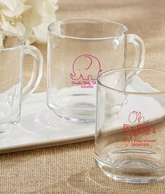 Glass mug with the option of a pink imprint and custom message.