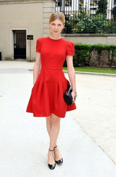 We're still swooning over Clemence Poesy's crimson Valentino dress she wore to Paris Couture Week. While most of us can't get our hands on this exact number, studies have shown that men have a thing for red, so this style idea is worth stealing.