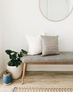 Our Mid-Century Bench is the perfect entryway spot to ponder life while tying yo., Mid-Century Bench is the perfect entryway spot to ponder life while tying your shoes. We love how you styled yours, Jessica Nelson! Rustic Entryway, Modern Entryway, Entryway Ideas, Entryway Lighting, Small Entryway Decor, Small Hallway Decorating, Small Entrance, Entrance Ideas, Office Lighting