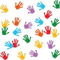 Pintadas con palmas de chicos, imagen vectorial.