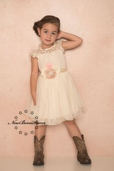 Ivory Blush Chiffon Flower Girl Dress - Rustic Wedding - Country Dress - Ava Madison Boutique