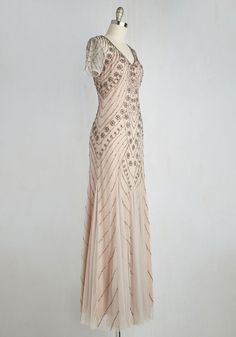 State of Luxe Dress. Like the dazzling dynamism of this beaded gown, your life is always in motion. #grey #prom #modcloth