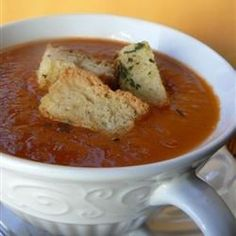 "Garden Fresh Tomato Soup I ""Without changing any ingredients this is the BEST recipe for tomato soup I've ever had. It's quick, fresh tasting, and the cloves give it a hint of je ne sais quoi. A definite keeper!"""