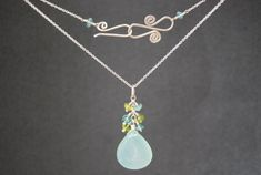 Buy Necklace cluster of apatite, peridot with large sea blue chalcedony Necklace 1-34 by calicojunojewelry. Explore more products on http://calicojunojewelry.etsy.com