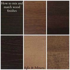 ideas for how to mix, match and coordinate wood finishes and stains like oak, cherry, maple, espresso, pine and  more for cabinets, flooring and furniture