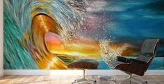 Mural Print,  interior,decor,decoration,wall,art,room,design,modern,cool,unique,artistic,beautiful,painting,blue,turquoise,colorful,surf,waves,ocean,impressive,horse,sunset,sunrise,light,seascape,running,crashing,breaking,saltwater,hand painted,pictorem