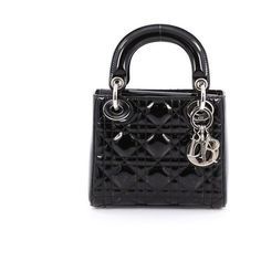 Pre-Owned Christian Dior Lady Dior Handbag Cannage Quilt Patent Mini (5770 QAR) ❤ liked on Polyvore featuring bags, handbags, black, mini hand bags, patent leather purse, man bag, mini purse and flap handbags