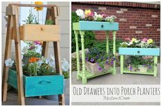 Upcycle - Drawer Porch Planters and Front Porch Ideas - Inspire Your Welcome This Spring! Details on Frugal Coupon Living
