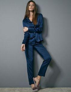 The male pajamas by Oysho www. Satin Pyjama Set, Satin Pajamas, Pajama Set, Pyjamas, Pajamas For Teens, Cute Pajamas, Womens Pjs, Womens Pyjama Sets, Black Skirt Outfits