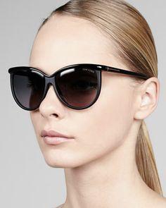 #TomFord sunnies!  I love the shape of this eyewear... #fashion #style Josephine Enamel Sunglasses, Black by Tom Ford