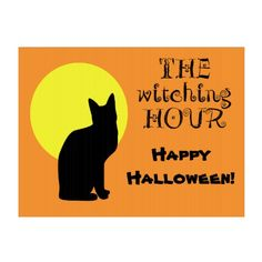 Black Cat Yellow Moon Halloween Yard Signs by Sand Creek Ventures