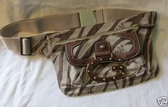 GUESS Handbag Brown Khaki Fanny Pack Waist Bag Purse Pocketbook Run Jungle Mini