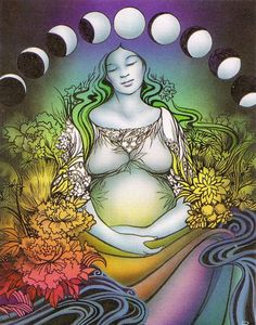 Earth Mother & Her Moon Phases ~ waxing, full & waning, which coincide with the Triple Goddess, Power of 3 or phases of womanhood:  maiden, mother & crone