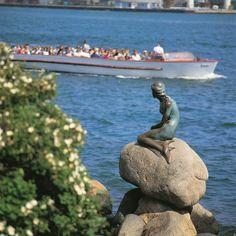 Canal boat passing the Little Mermaid in Copenhagen, Denmark