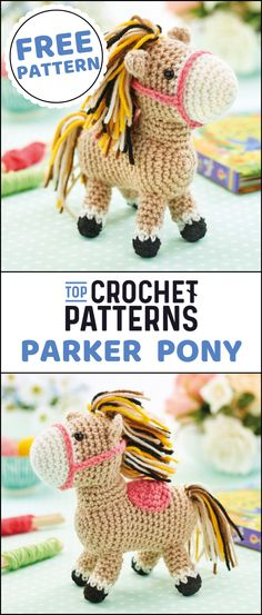 If you ever dreamed of having a pony as a child, or know a little girl who wants one, grab your hook and crochet Heather. Crochet Pony, Crochet Unicorn Hat, Crochet Horse, Crochet Baby Hats, Crochet For Kids, Free Crochet, Crochet Animals, Crochet Ideas, Crochet Monkey Pattern