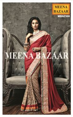 Get Ready to Walk in Style with this beautiful georgette half and half saree in beige and red colour combination.