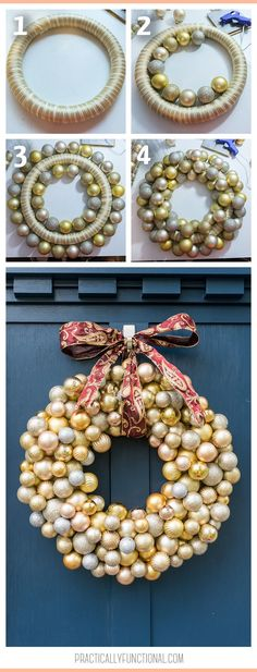 Are you looking for an easy holiday decor project! This beautiful Christmas wreath is a cinch to make with dollar store ornaments and hot glue! Learn how to make an ornament wreath and add some dazzle to your porch today! Christmas Ornament Wreath, Christmas Wreaths, Christmas Crafts, Ornament Crafts, Fall Wreaths, Xmas, Christmas Tree, Diy Wreath, Door Wreaths