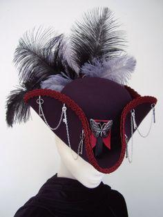 Lady Butterkeys purple cockade tricorn steampunk hat by Blackpin, £80.00. Lovely!!!!