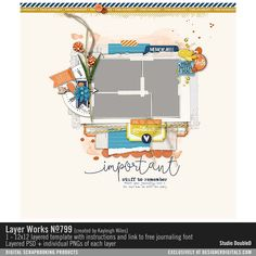 Layer Works No. 799 layered scrapbook page layout for easy digital scrapbooking in PSD and PNG formats #designerdigitals