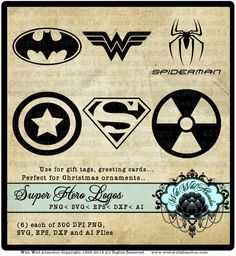 Superhero Silhouettes, Superhero Vectors, Spiderman Clipart, ai, svg,eps,png, dxf, wonder woman, batman  6 transparent clipart images. 300 DPI