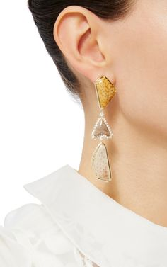 Palmwood Fossil And Coral Fossil Earrings by LAURA PIERSON for Preorder on Moda…