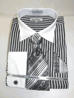 Daniel Ellissa Black Men's French Cuff Dress Shirt with Bold Pin Stripe Pattern Body with White solid French Cuffs with Cuff Links.Dress Like You Own It with this Men's Shirt + Tie and matching Hankie combo with beautiful color Best Dress Shirts, Suit Shirts, Collar Shirts, Shirt Dress, Fashion Wear, Fashion Suits, Male Fashion, Fashion Trends, Mens Shirt And Tie