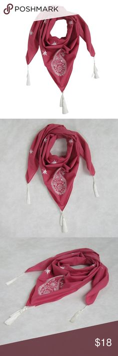 """NEW! Embroidered Paisley SQUARE Scarf Marsala Pink OVERVIEW: These lovely scarves can be worn around your waist or on your hat: Take it to the beach!! Handcrafted unique scarf design with embroidery motif all over and large paisley in front.  Contrasting tassels with thread work matching the embroidery  PRODUCT DETAILS:  STYLE # EB-SCV-003 MARSALA PINK TYPE: SQUARE MATERIAL: 100% Cotton Voile DIMENSIONS: L 39"""" x W 39"""" WASH CARE: Hand wash, lay flat to dry or delicate wash  Comes in a…"""