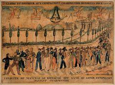 """Champ de conduite de compagnon charpentier du Devoir  Dessin à l'encre aquarellé attribué à Etienne Leclair qui était """"piqueur"""" à Bordeaux, c'est-à-dire employé des Ponts et Chaussées. En titre : """"GLOIRE ET HONNEUR AUX COMPAGNONS CHARPENTIERS BONDRILES POUR LA VIE"""". En légende """"CONDUITE DE MANCEAU LE BIENAIMÉ DIT L'AMI DU GÉNIE COMPAGNON PASSANT CHARPENTIER"""".  Époque Charles X H : 43 - L : 59 cm"""
