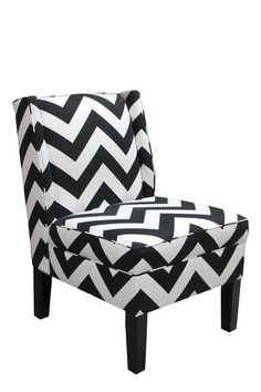 Chevron Black and White Zig Zag Wingback Accent Chair - Wingback Accent Chair, Accent Chairs, Chair Upholstery, Chair Cushions, Wingback Chairs, Upholstered Chairs, Rattan Chairs, Metal Chairs, Chair Pads