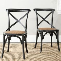 Set of 2 Broxburn Wood and Metal Dining Chair   Overstock.com Shopping - The Best Deals on Dining Chairs